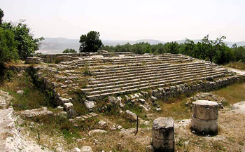 Samaria. Foundation of the Temple of Augustus built by Herod the Great. SBF photo.