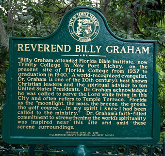 Graham marker near Florida College, Temple Terrace, FL. Photo by Ferrell Jenkins, 05-01-2004.