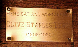 Here Sat and Worshipped Clive Staples Lewis. Photo by Ferrell Jenkins. Biblicalstudies.info.