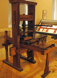 Luther Museum, Wittenberg, Germany, printing press. Photo by Ferrell Jenkins, BiblicalStudies.info.