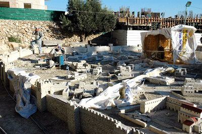 Model of the Second Temple being dismantled by workmen, Nov. 10, 2005. Photo by Ferrell Jenkins, BiblicalStudies.info.